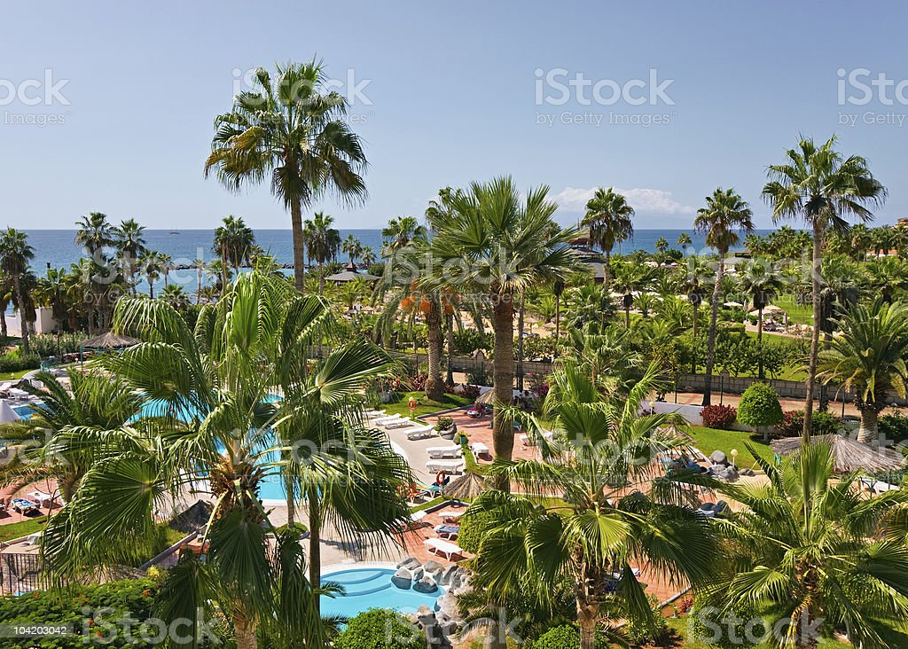 Luxury poolside, Canary islands, Spain royalty-free stock photo