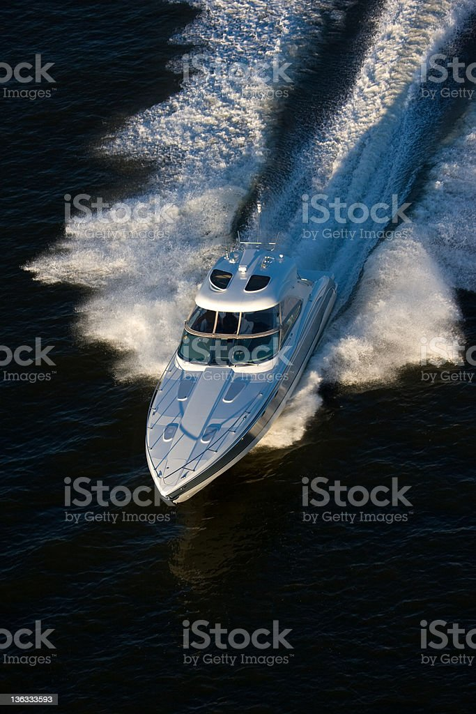 Luxury Powerboat Aerial View royalty-free stock photo