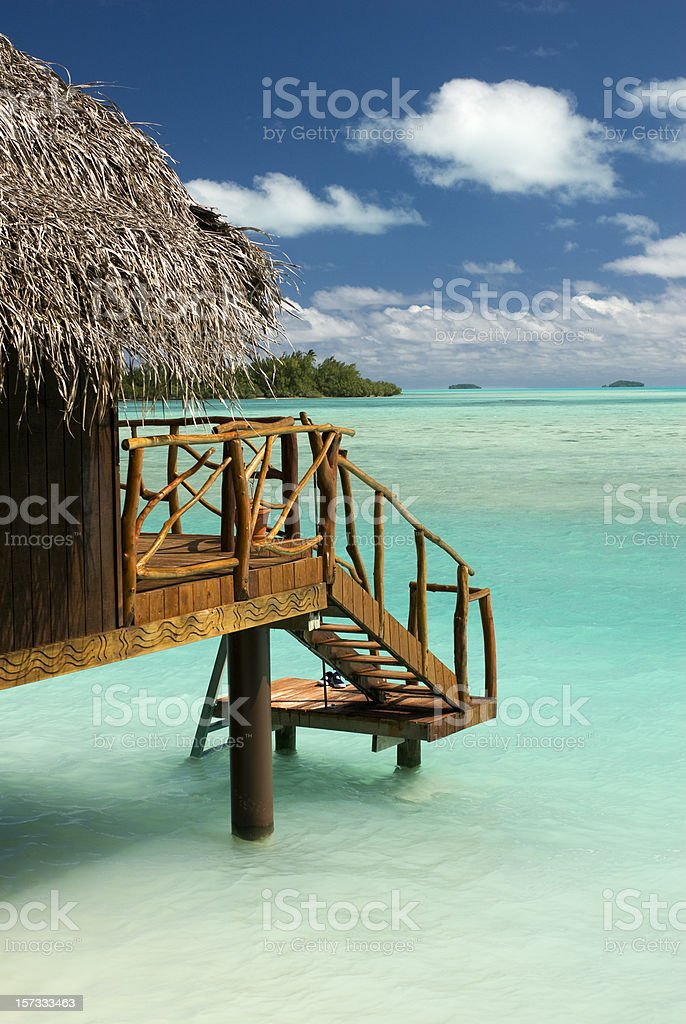 Luxury private beach hut overlooking the South Pacific. stock photo