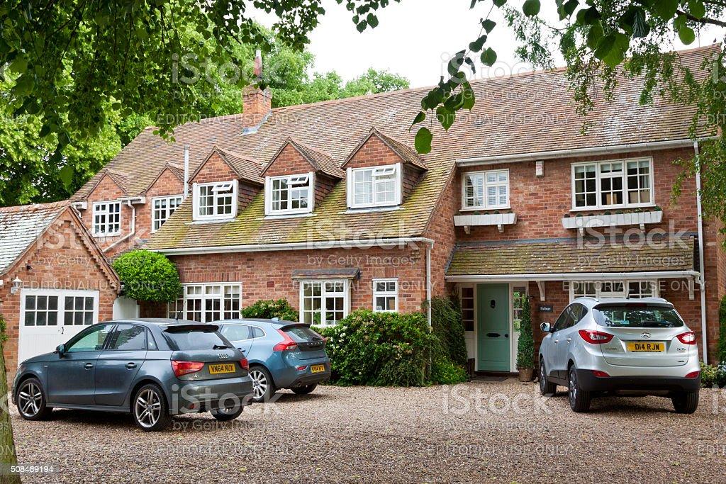 Luxury Red Brick English House, Stratford-upon-Avon, Warwickshire, England, UK. stock photo