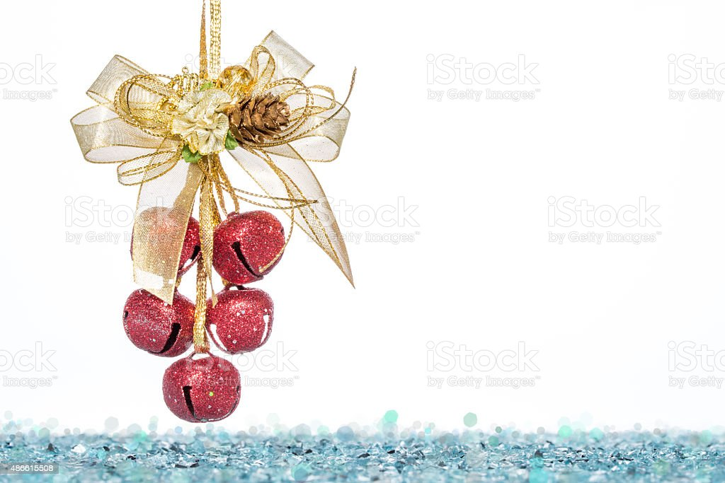 Luxury red jingle Bells, ribbon bowknot with Snow stock photo
