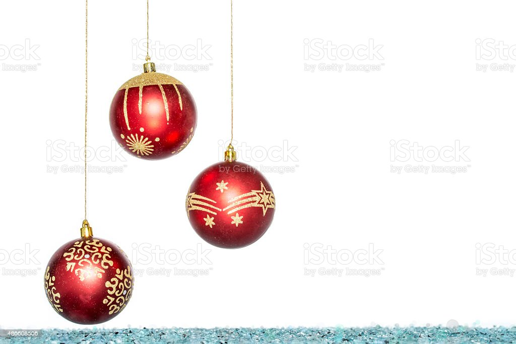 Luxury red with gold Christmas ball, hanging Decoration stock photo