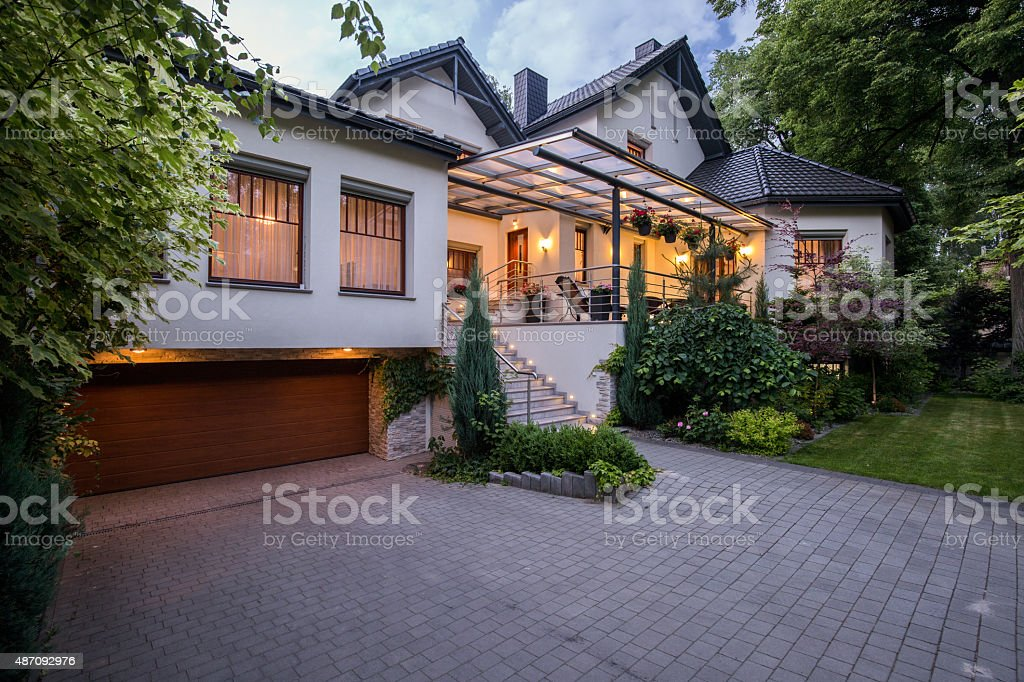 Luxury residence with cozy terrace stock photo