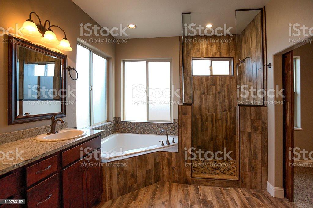 Luxury Residential Master Bathroom stock photo