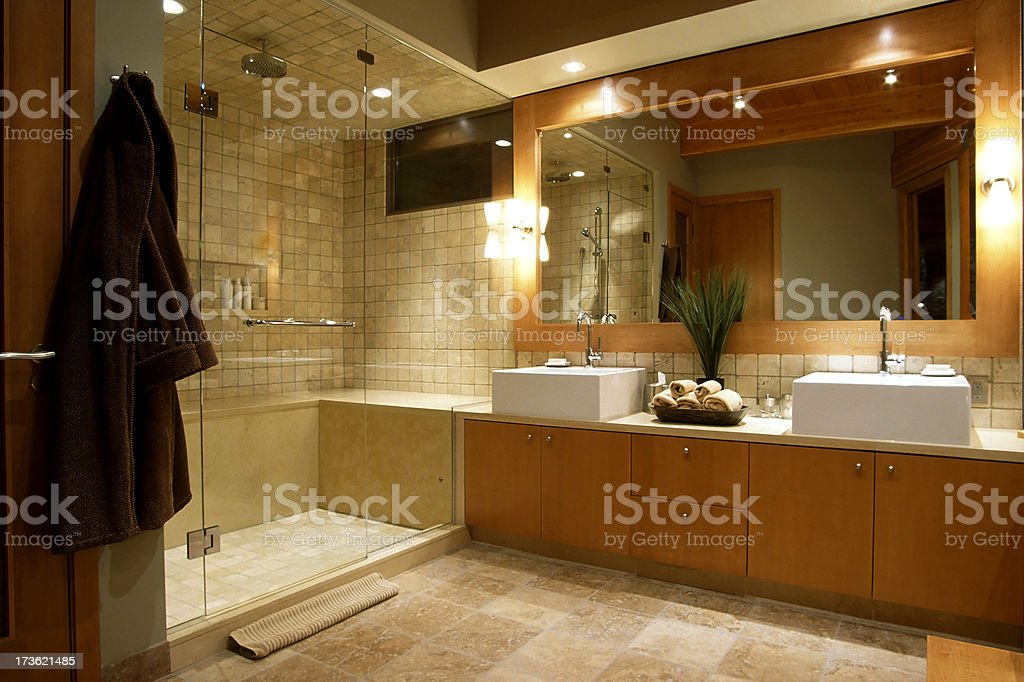 luxury resort hotel washroom stock photo