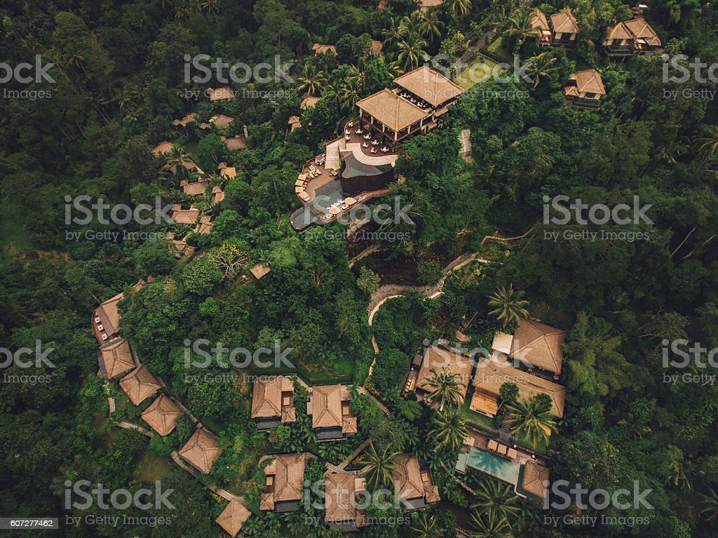 Luxury resort in forest surrounded by trees stock photo