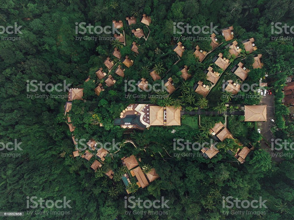 Luxury resort in rain forest surrounded by greenery stock photo