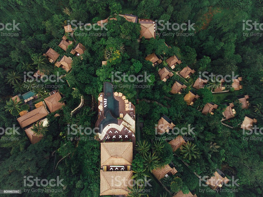 Luxury resort in tropical rain forest stock photo