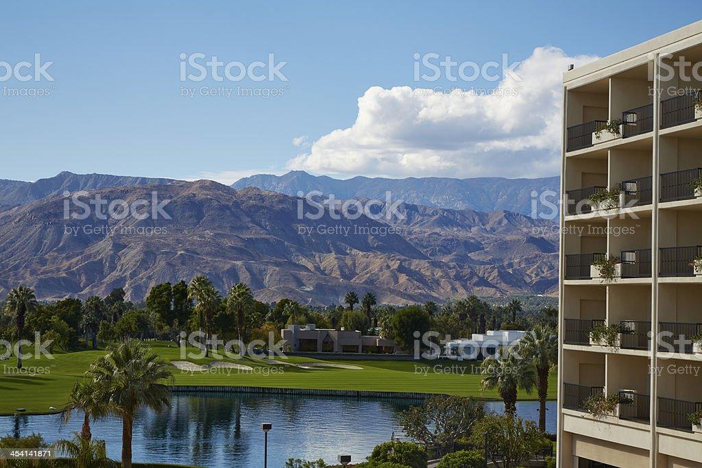 Luxury Resort Overlooking Golf Course royalty-free stock photo