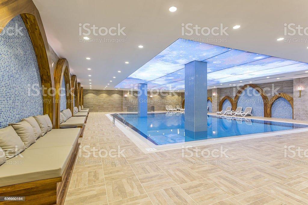Luxury resort swimming pool stock photo