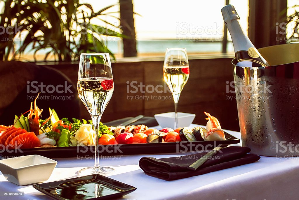 Luxury restaurant table on the beach stock photo