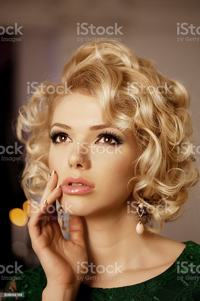 Luxury rich woman like Marilyn Monroe stock photo