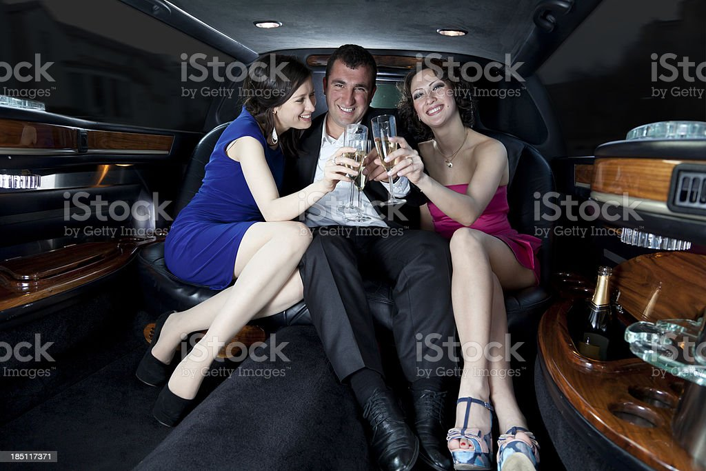 Luxury Ride in a Stretch Limosine stock photo