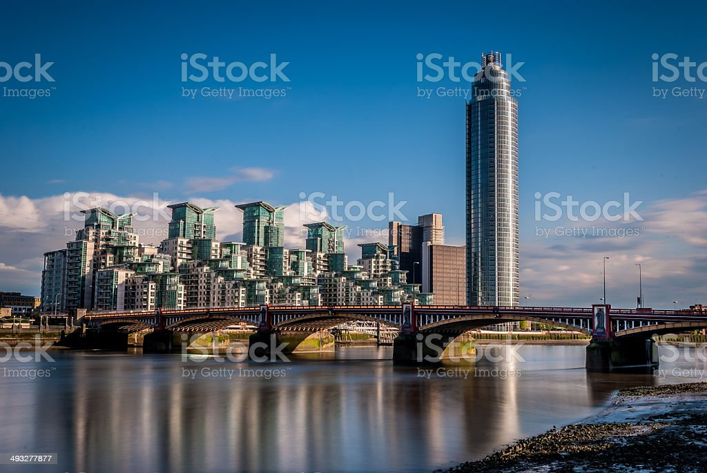 Luxury riverside apartments stock photo