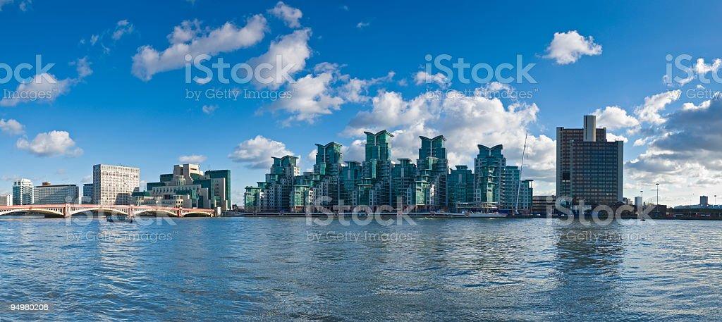 Luxury riverside apartments stock photo