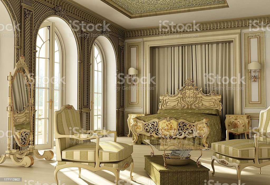 Luxury rococo bedroom stock photo