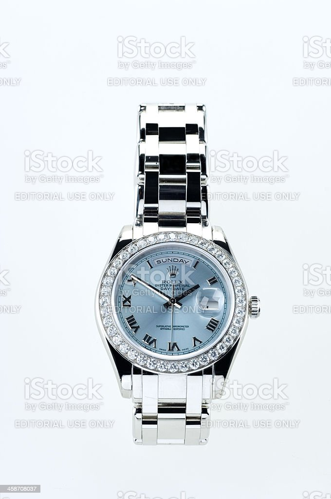 luxury Rolex wristwatch with diamonds stock photo