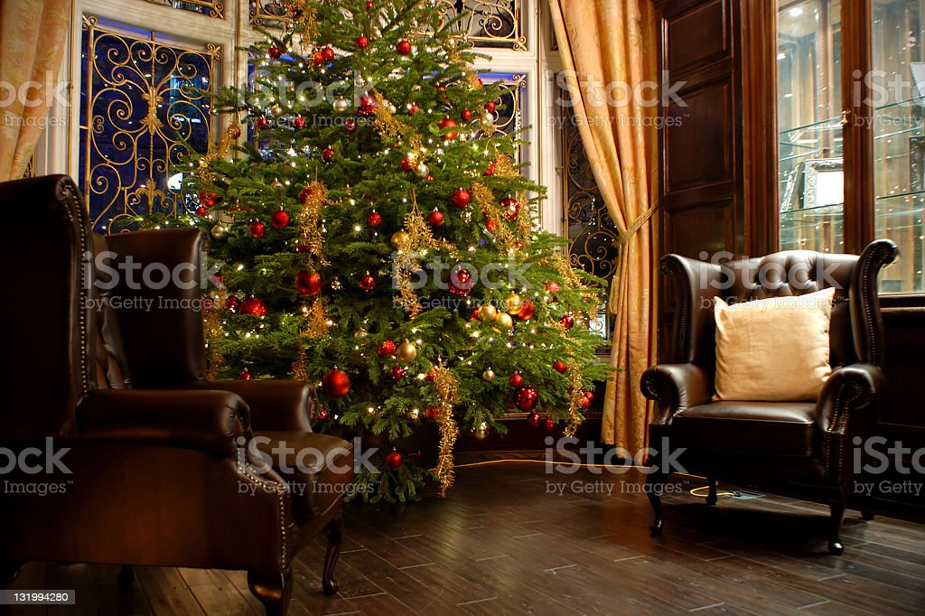 Luxury room indoor at Christmas time stock photo