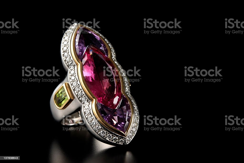 Luxury ruby diamond ring on black background with copy space stock photo