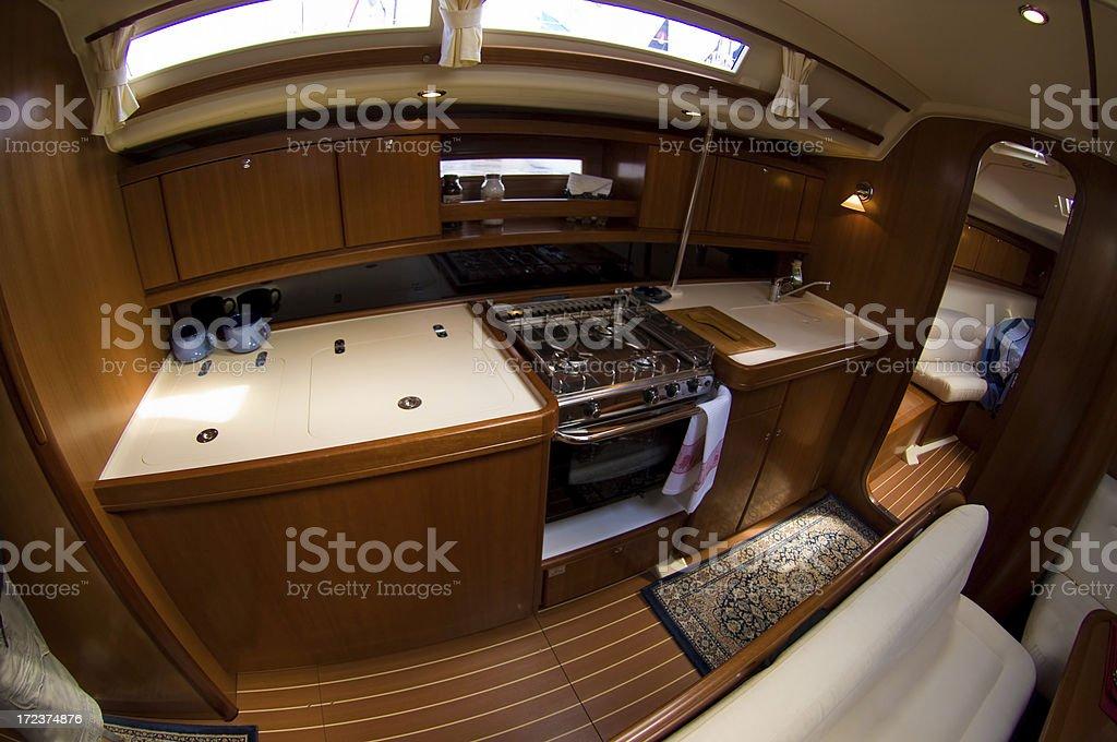 Luxury sail boat interior royalty-free stock photo