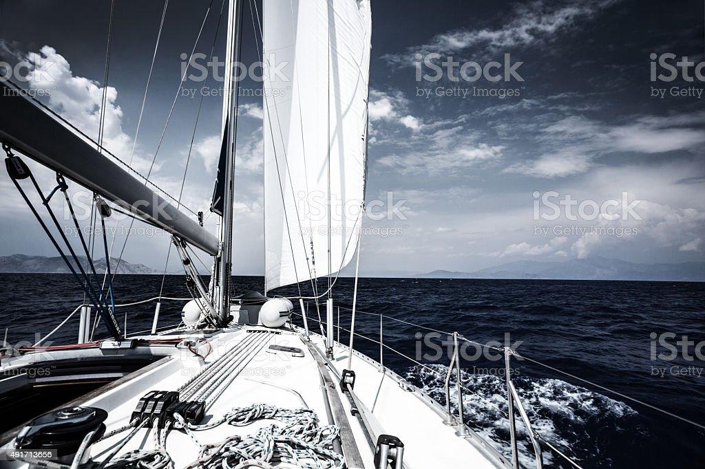 Luxury sail boat stock photo