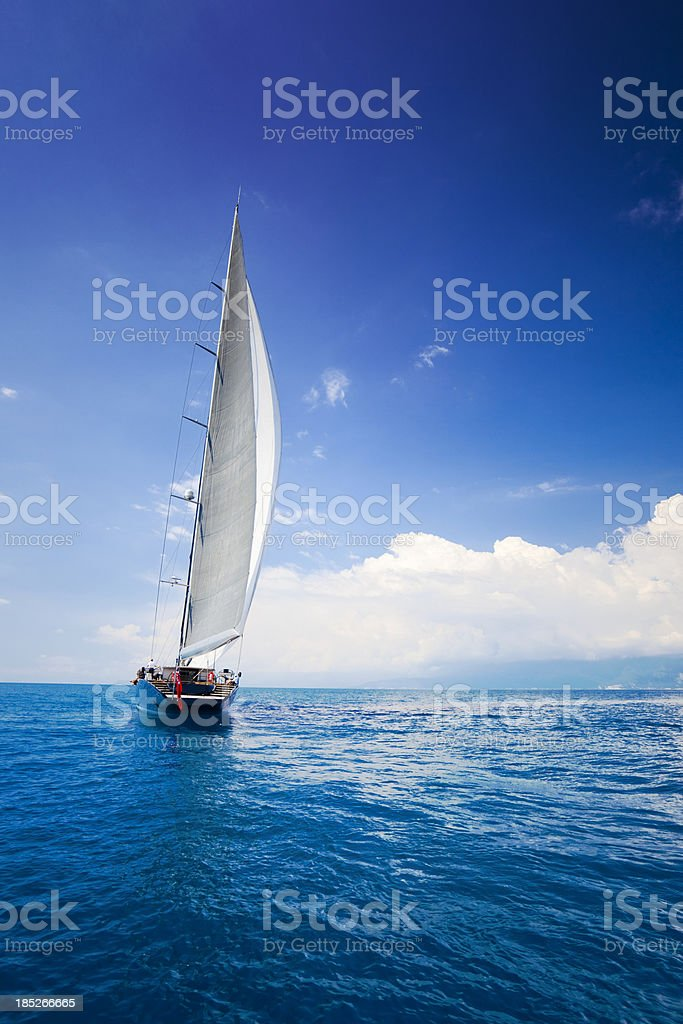 Luxury sailboat sailing stock photo