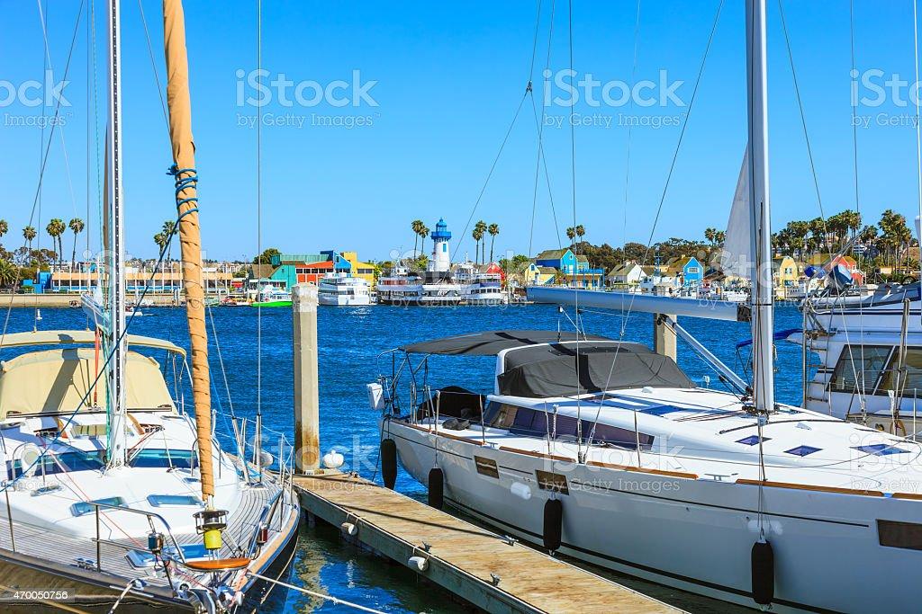 Luxury sailboats moored at dock in Marina Del Rey,CA stock photo