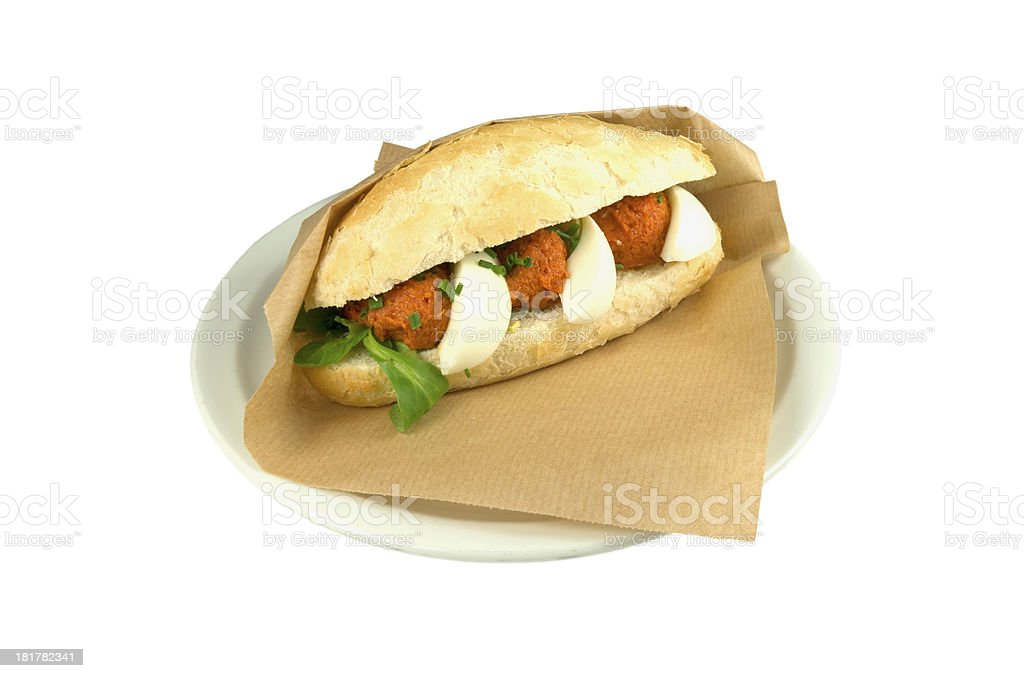 高級ステーキタルタルサンドイッチ、卵ます。 ロイヤリティフリーストックフォト