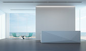 Luxury sea view lobby with white wall in modern office