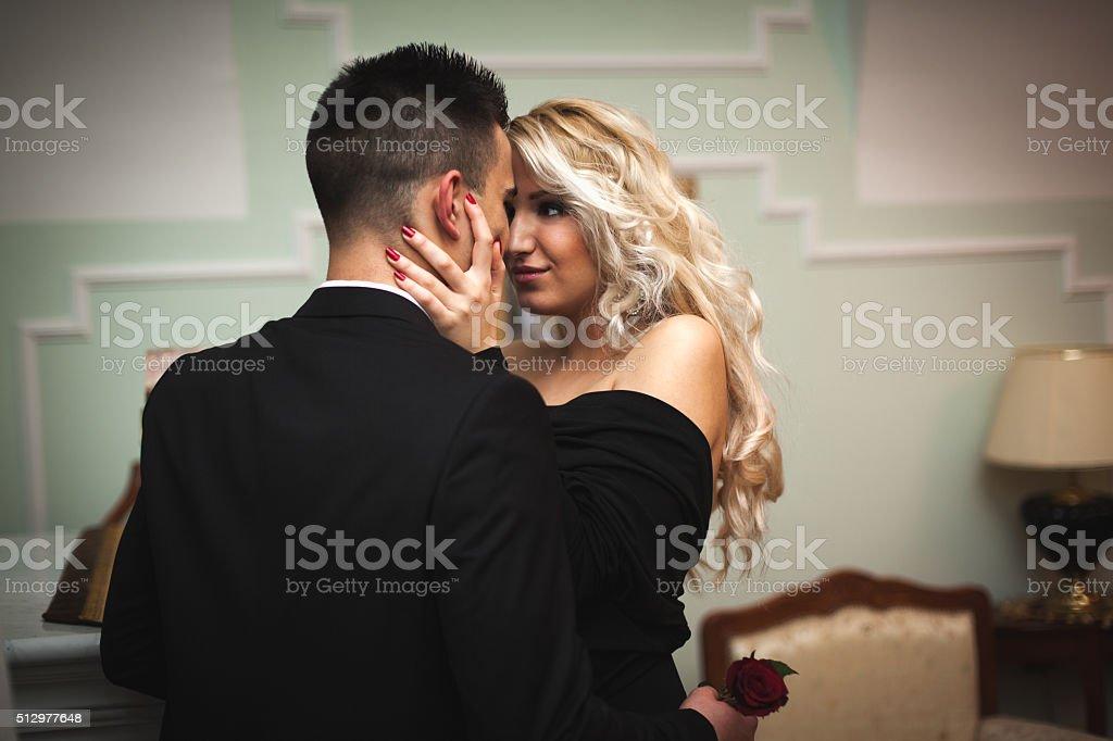 Luxury sexy couple hug each other stock photo