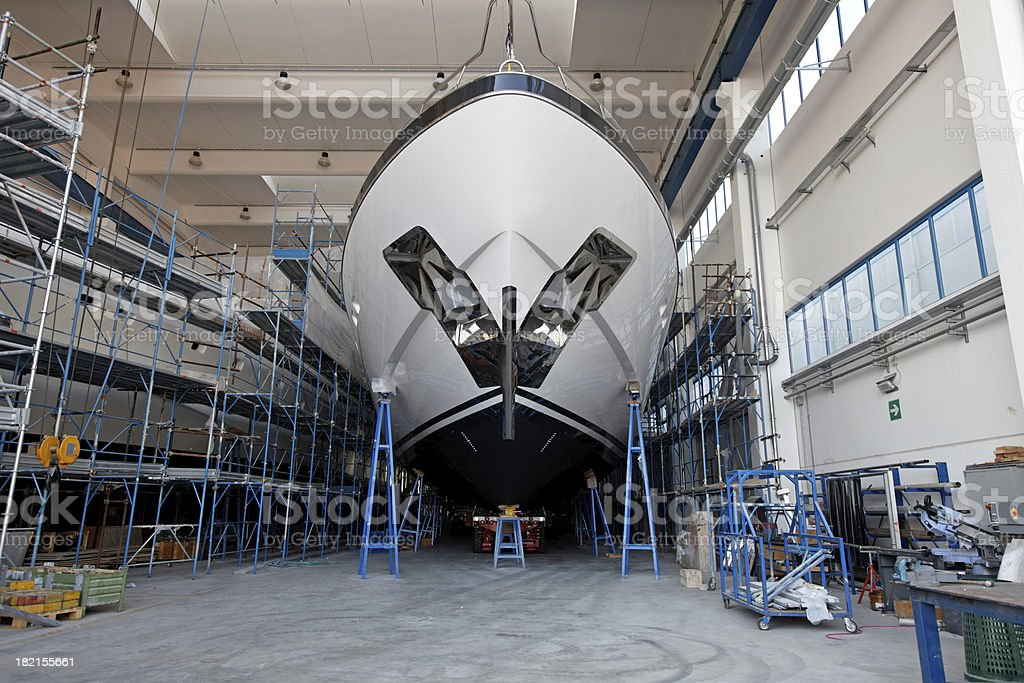 Luxury shipbuilding, ship repair stock photo