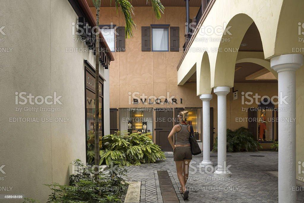 Luxury shopping area: Bulgari, Louis Vuitton stock photo