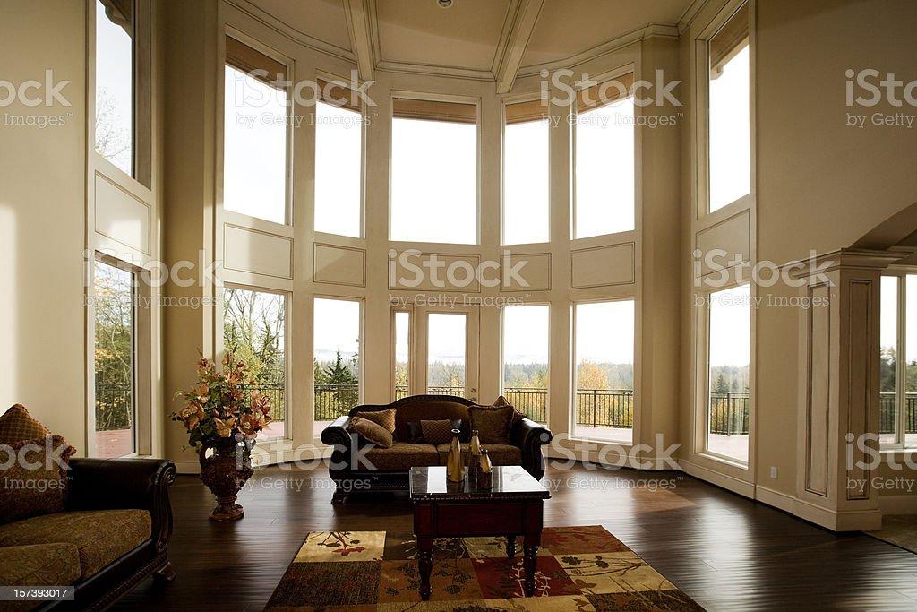 Luxury Showcase Living Room Interior architectural design windows stock photo