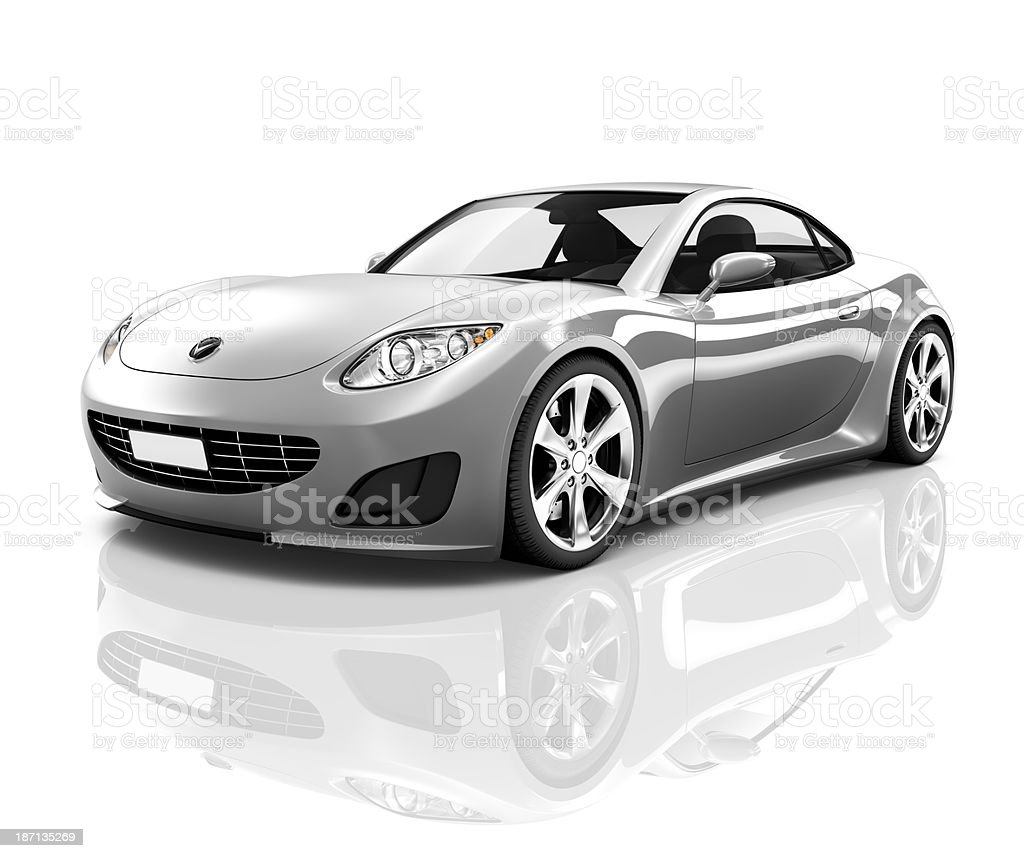 Luxury Silver Sports Car royalty-free stock photo