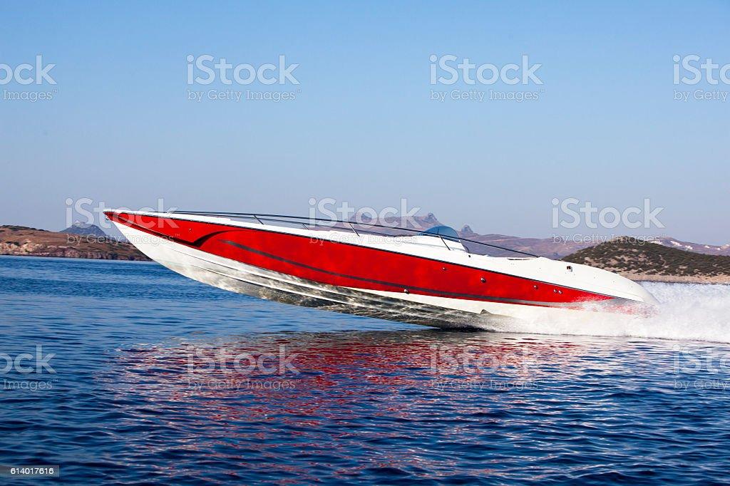 luxury speedboat stock photo