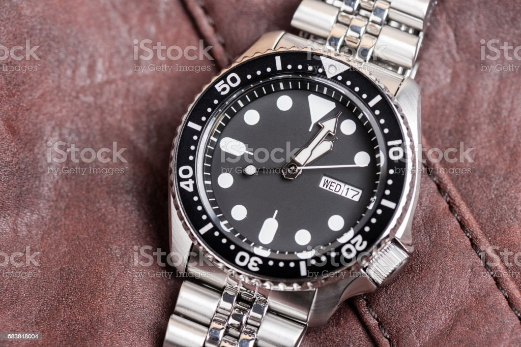 luxury stainless steel wristwatch stock photo