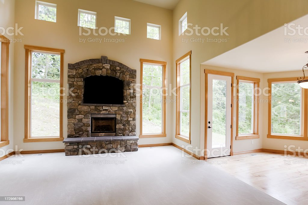 Luxury stone fireplace royalty-free stock photo