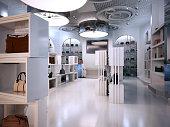Luxury store interior design art deco style with hints