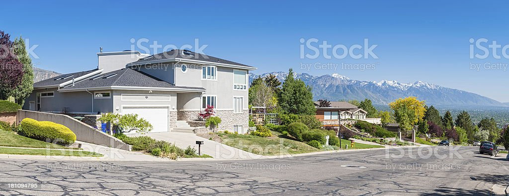 Luxury suburban homes with mountain view panorama USA stock photo