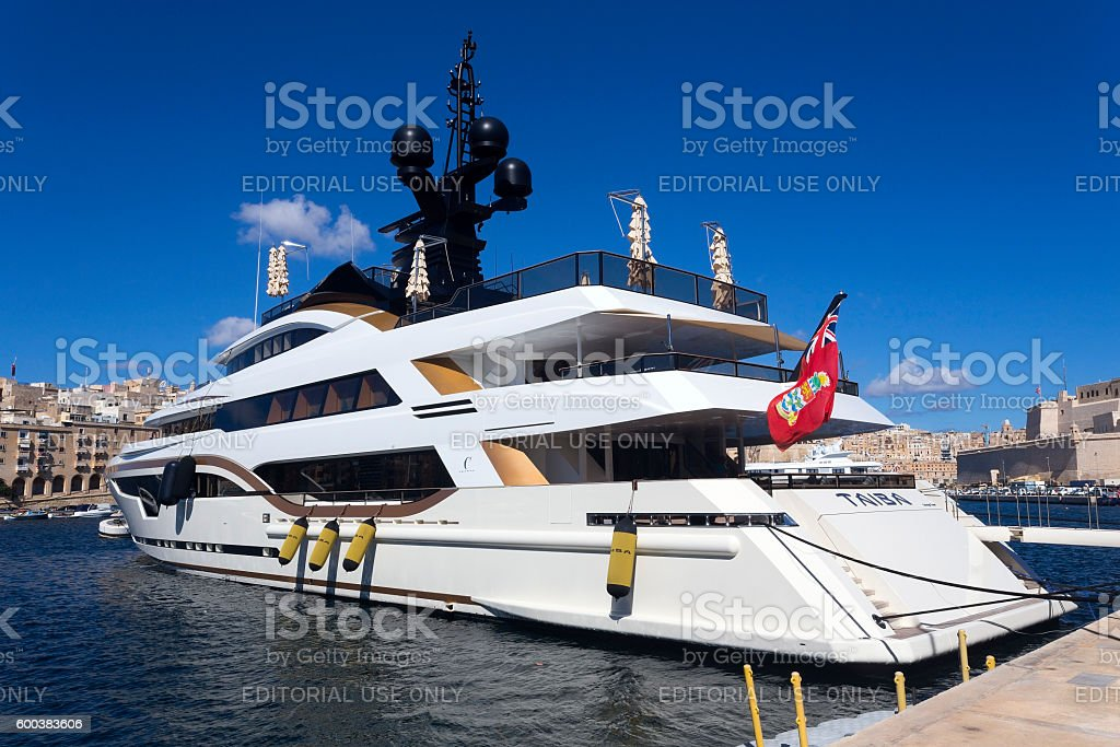 Luxury Super Yacht on a sunny nice day stock photo