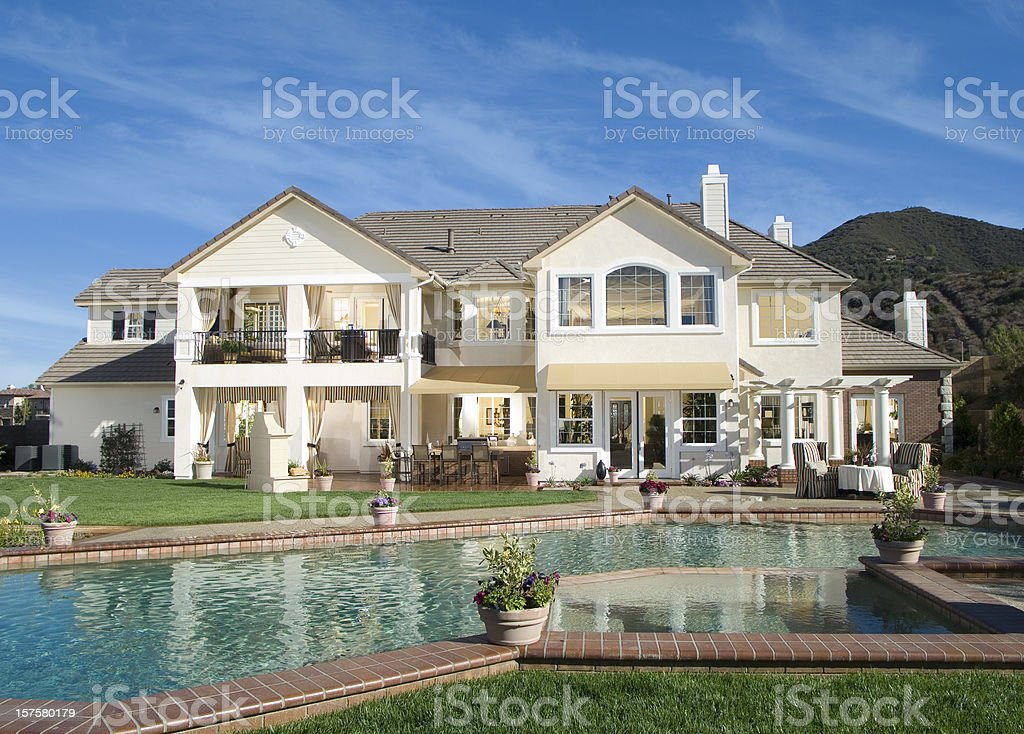 Luxury Swimming Pool Backyard Home stock photo
