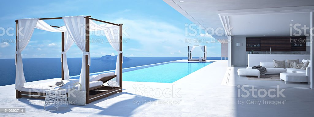 luxury swimming pool in santorini. 3d rendering stock photo