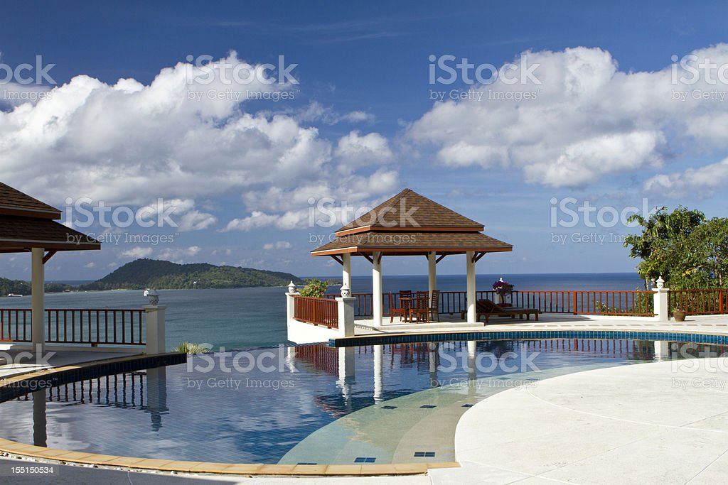 Luxury swimming pool of a resort royalty-free stock photo