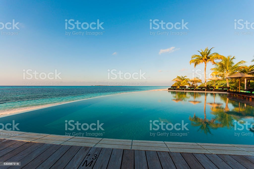 Luxury Swimming Pool on Maldives, Tropical Beach stock photo
