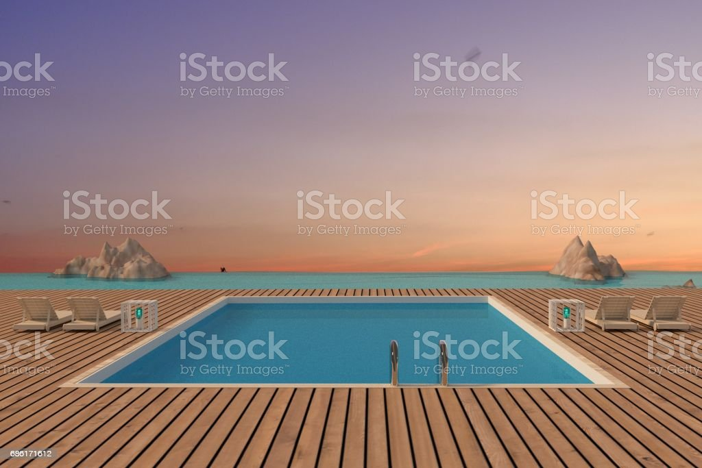 luxury swimming pool with beach lounge seaview in 3D rendering stock photo