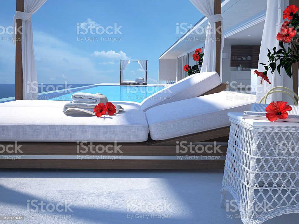 luxury swimming pool with hibiscus flower. 3d rendering stock photo