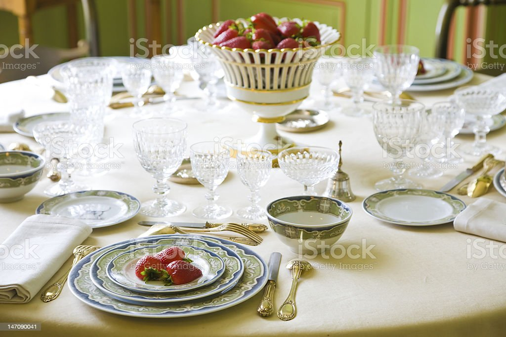 Luxury table setting with strawberries royalty-free stock photo