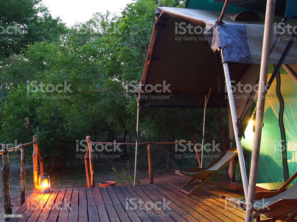 Luxury tent on safari stock photo