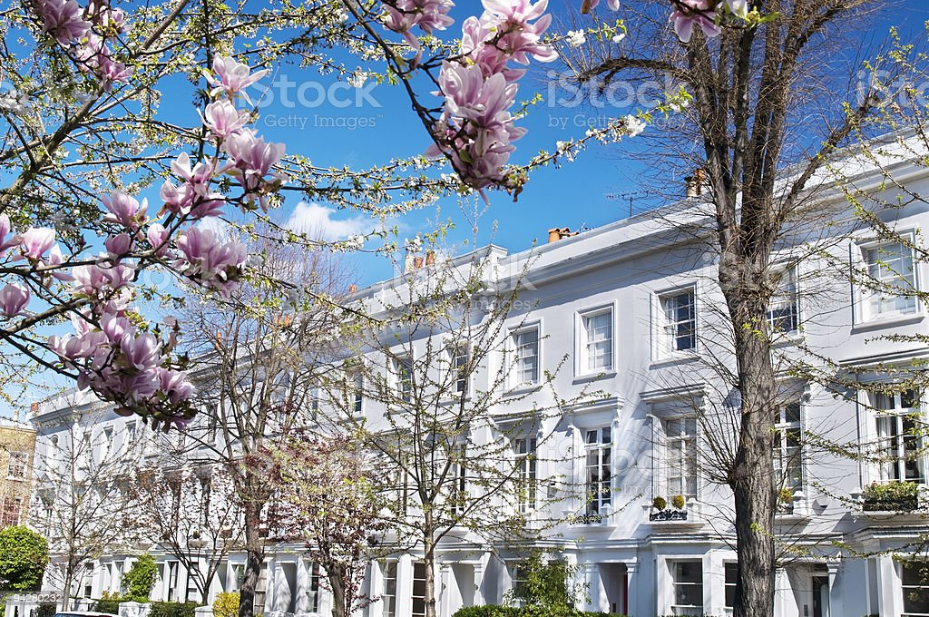Luxury terraced houses at West-London. stock photo
