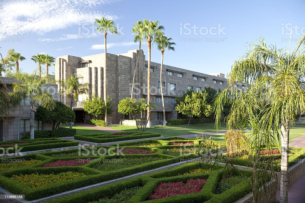 Luxury Tourist Hotel Formal Gardens in Phoenix, Arizona royalty-free stock photo